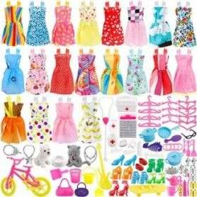 135 Pcs Barbie Doll Clothes Party Gown Outfits Shoes Bags Necklace Toy Accessory, 20 Pack Clothes & 115 Pcs Dolls Accessories