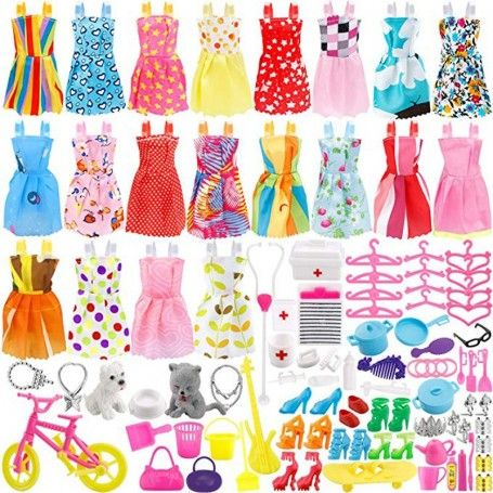 135 Pcs Barbie Doll Clothes Party Gown Outfits Shoes Bags Necklace Toy Accessory, 20 Pack Clothes & 115 Pcs Dolls Accessories -