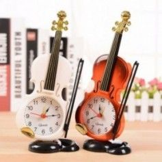 2020 New 2 Colors Creative Instrument Table Clock Student Violin Gift Home Decor Fiddle Quartz Alarm Clock Desk Plastic Craft -