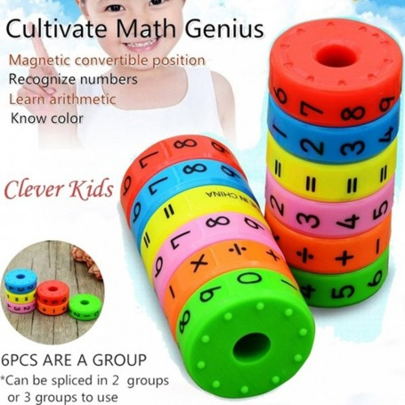 6 Pieces Magnetic Montessori Kids Preschool Educational Plastic Toys For Children Math Numbers DIY Assembling Puzzles Boys Girls