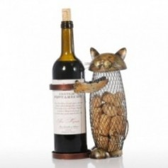 Tooarts Cat Wine Rack Cork Container Bottle Wine Holder Kitchen Bar Metal Wine Craft Christmas Gift Handcraft Animal Wine Stand